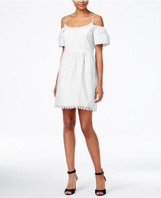 kensie Eyelet Cold-Shoulder Dress $89 thestylecure.com