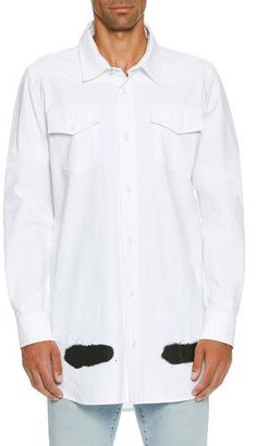 Off-White Spray-Paint Logo Utility Shirt, White $585 thestylecure.com