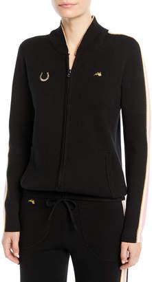 Bella Freud Race Track Zip-Up Track Jacket with Side Stripes