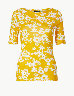 Marks and Spencer Pure Cotton Floral Regular Fit T-Shirt