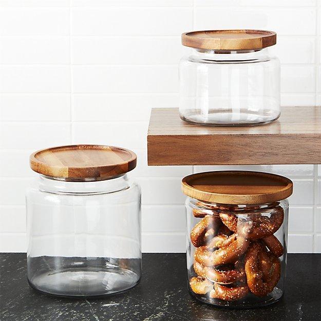 Crate & Barrel Montana Acacia and Glass Jars