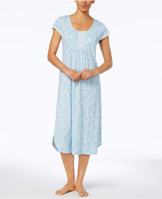 Miss Elaine Tucked-Front Printed Knit Nightgown $62 thestylecure.com