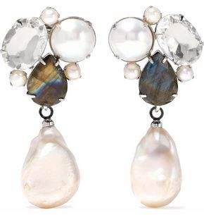Bounkit Convertible Silver-Tone Labradorite Mother-Of-Pearl And Crystal Earrings