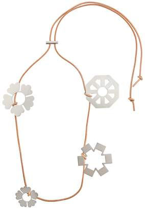 Tory Burch abstract floral charm necklace