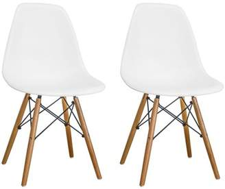 Mod Made Paris Tower Dining Side Chair with Wood Legs- Set of 2 (Black)