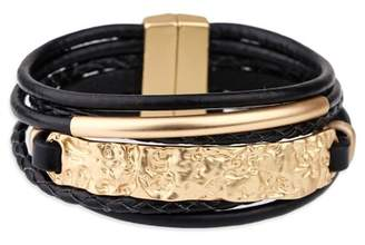 Saachi Unpaved Bar Leather Bracelet