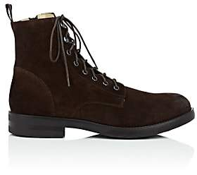 Barneys New York MEN'S WAXED SUEDE BOOTS-DK. BROWN SIZE 8 M