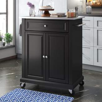 Three Posts Hedon Kitchen Cart with Stainless Steel Top Base