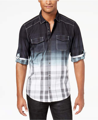 INC International Concepts I.n.c. Men's Dip-Dyed Plaid Shirt, Created for Macy's