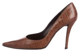Stuart Weitzman Alligator Pointed-Toe Pumps