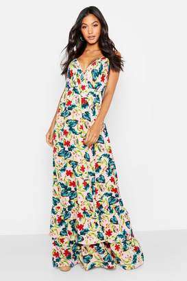 boohoo Tropical Floral Ruffle Hem Maxi Dress