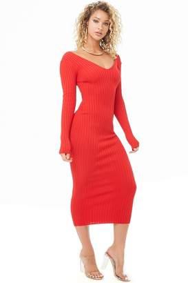 Forever 21 Ribbed V-Neck Midi Dress