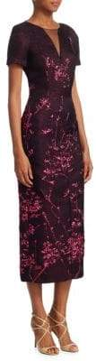 Talbot Runhof Embroidered Illusion-Neck Midi Dress