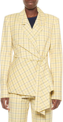 Tibi Marvel Plaid Suiting Wrap Jacket