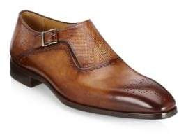 Saks Fifth Avenue Men's COLLECTION Laser-Cut Monk Strap Leather Dress Shoes - Tan - Size 8 M