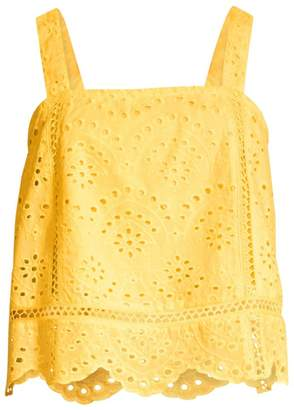 7 For All Mankind Squareneck Eyelet Cotton Tank Top