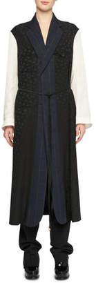 Stella McCartney Oversized Mixed-Media Belted Robe-Style Coat
