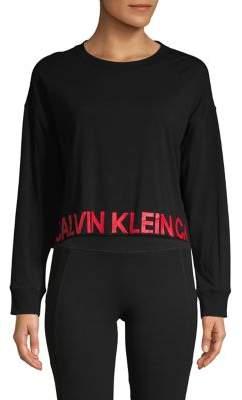 Calvin Klein Cropped Dolman Logo Pullover