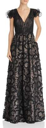 Aidan Mattox Sequin Embroidered Ruffle Sleeve Gown