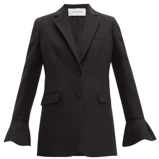 Valentino Crepe Couture Fluted Sleeve Wool Blend Jacket - Womens - Black