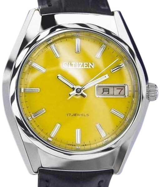 CitizenCitizen Day Date Manual Wind Japanese Yellow Dial Vintage Mens Watch 1970