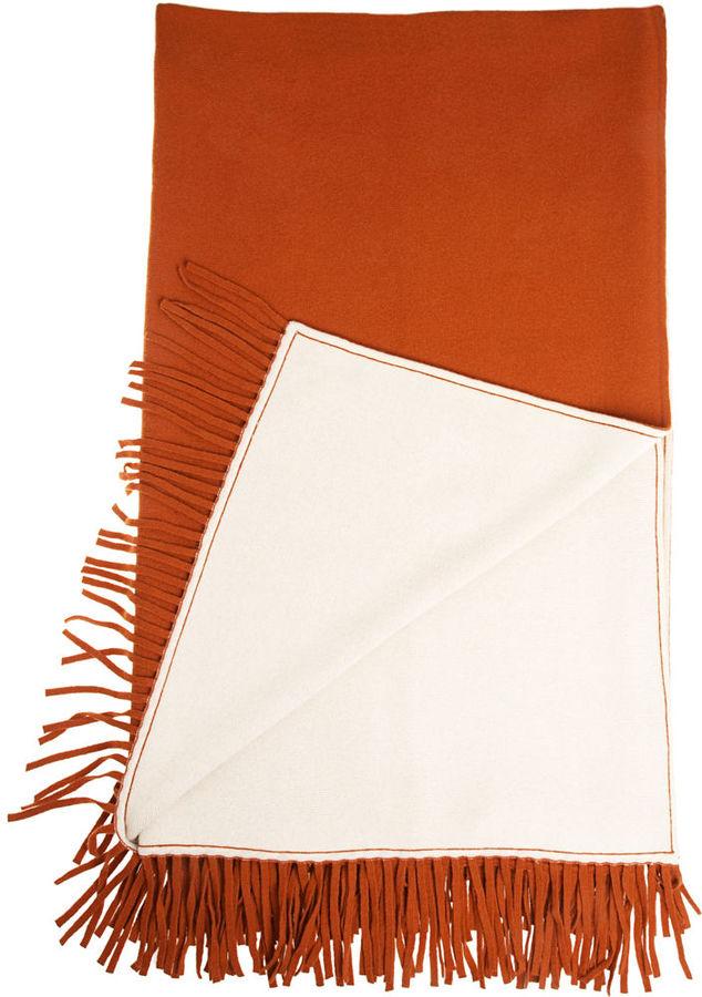 Barneys New York Double Faced Throw- Orange / Ivory