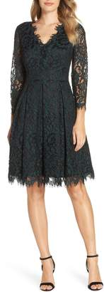 Eliza J Lace V-Neck Fit & Flare Dress