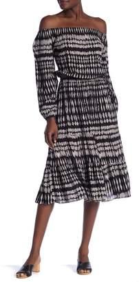 Love Stitch Off-the-Shoulder Printed Midi Dress