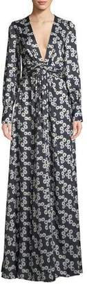 Lela Rose V-Neck Long-Sleeve Floral-Print A-Line Evening Gown