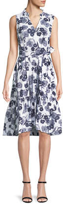 Kate Spade Shadows Poplin Sleeveless Floral-Print Midi Dress
