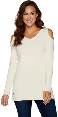 Belle By Kim Gravel Belle by Kim Gravel Rayon Nylon Cold Shoulder Sweater Tunic