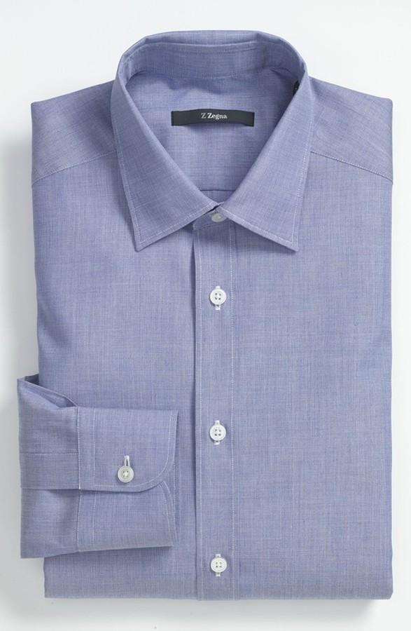 Z Zegna Regular Fit Dress Shirt Dark Blue Solid 38 EU