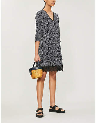 Claudie Pierlot Real lace-trimmed heart-print woven dress