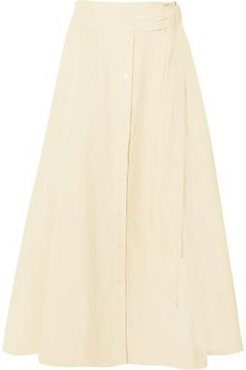 Lisa Marie Fernandez - Patchwork Corduroy Midi Skirt - Cream $525 thestylecure.com