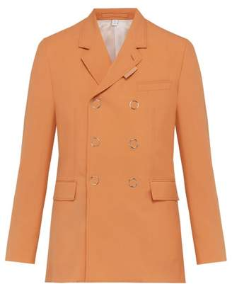 Burberry Double Breasted Press Stud Wool Jacket - Mens - Orange