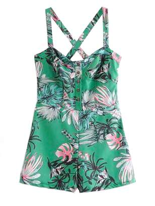 Goodnight Macaroon 'Shantel' Crossed Back Green Floral Print Overall Romper