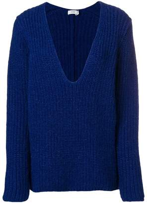 Closed ribbed knit oversized sweater