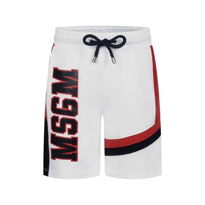 MSGMBoys White & Red Logo Shorts