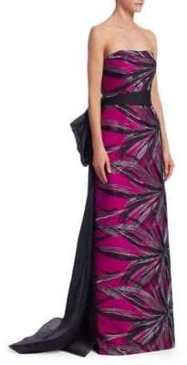 Rubin Singer Strapless Silk Bow-Back Gown