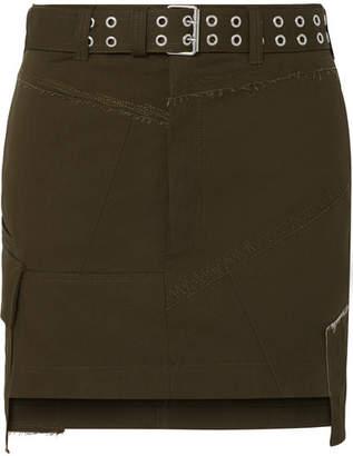 Helmut Lang Asymmetric Twill Mini Skirt - Army green