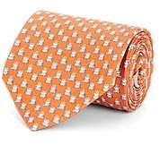 Salvatore Ferragamo Men's Frog-Print Silk Twill Necktie - Orange
