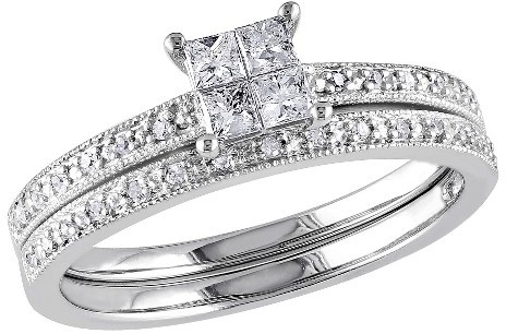 Allura 0.3 CT.T.W. Princess Cut Diamond Wedding Ring in 10K White Gold (GH I2:I3) - Tevolio