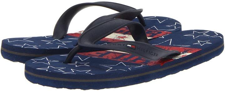 Tommy Hilfiger Bb Flip Flop Stars (Little Kid/Big Kid) (Navy/White) - Footwear