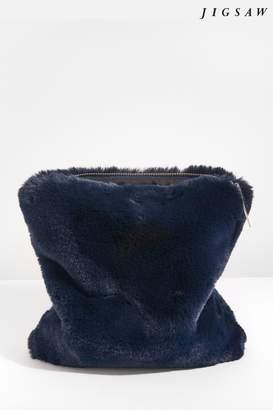 Next Womens Jigsaw Navy Faux Fur Zip Top Clutch