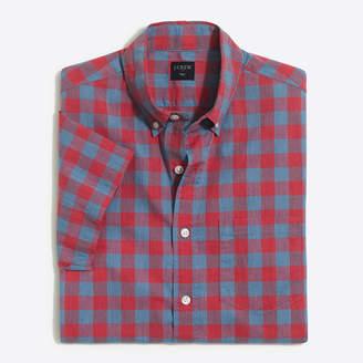 J.Crew Factory Slim short-sleeve heathered cotton shirt