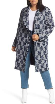 Halogen Floral Plaid Coat