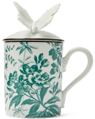 Gucci Herbarium Printed Butterfly Topped Mug - White Multi