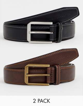 French Connection 2 Pack Casual Leather Belt
