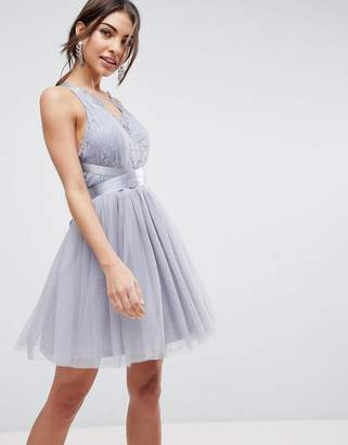 Asos PREMIUM Lace Top Tulle Mini Prom Dress with Ribbon Ties