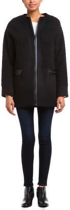 Dawn Levy 2 Felix Black Wool Blend & Faux Sherpa Coat